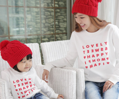 Happy Party Man to man Mom and baby long sleeve_12D03