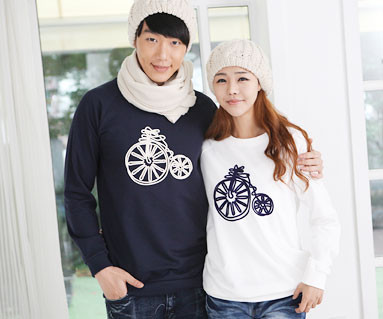 "Brushed Bicycle Man to man Couples long sleeve_12D08 <font color=""#FF6666""><strong>[Order available]</strong></font>"