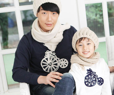 Brushed Bicycle Man to man Daddy and baby long sleeve_12D08