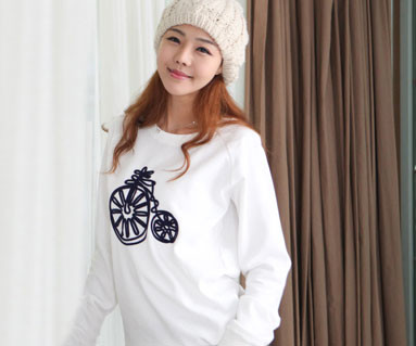 Brushed Bicycle Man to man long sleeve / mom / 12D08