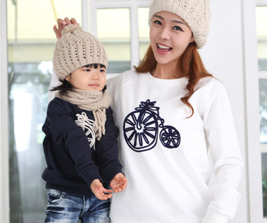 Brushed Bicycle Man to man Mom and baby long sleeve_12D08