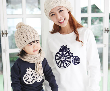"""Brushed Bicycle Man to man mom and baby long sleeve_12D08 <font color=""""#FF6666""""><strong>[Order available]</strong></font>"""