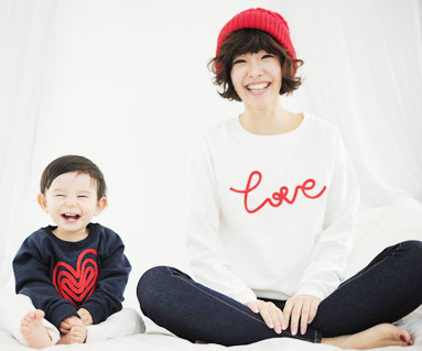Brushed chain embroidered Man to man Mother and baby long sleeve_11D05