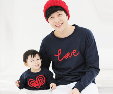 Brushed chain embroidery Man to man Daddy and baby long sleeve_11D05