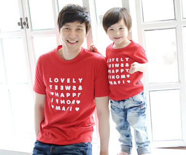 Happy Party round Dad and baby short T-shirts_13B07