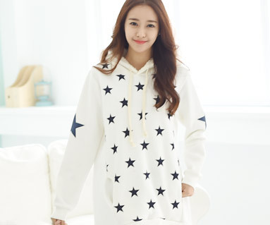 Brushed Star hooded long sleeve / mom / 14D12