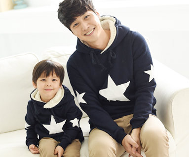 Brushed all-star hooded daddy and baby long sleeve_14D12