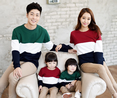 "Brushed trio color scheme Man to man family long sleeve_14D01 <font color=""#FF6666""><strong>[Order available]</strong></font>"