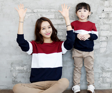 Brushed Trio Man to man Mother and baby long sleeve_14D01