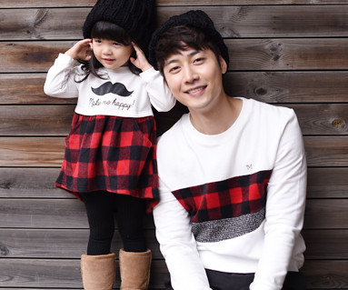 Brushed red check dad and baby long sleeve_15D07