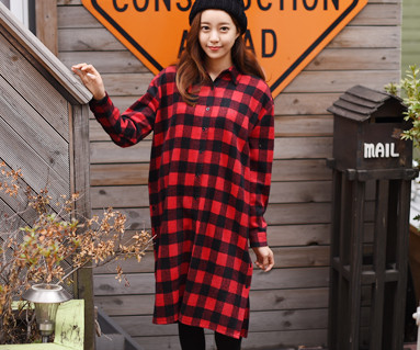 Brushed red checkered family / mom / 15D07