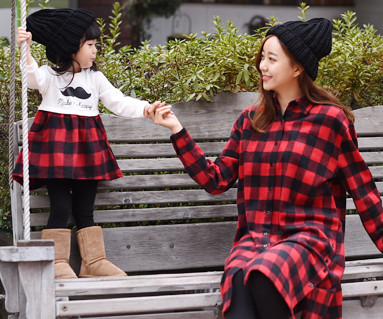 Brushed Red Check Mother and Baby long sleeve_15D07