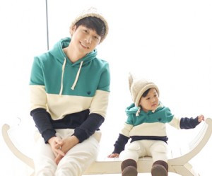 Brushed birdie birdie hoody daddy and baby long sleeve_15D20