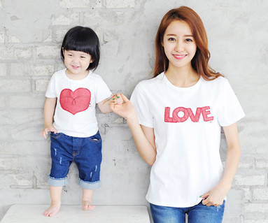 Red Jean patch round mother and baby short T-shirts_14B32