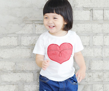 Red Jean Patch round baby short T-shirts_14B32