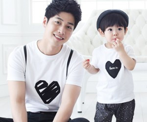 Black Heart round dad and baby short T-shirts_15B08