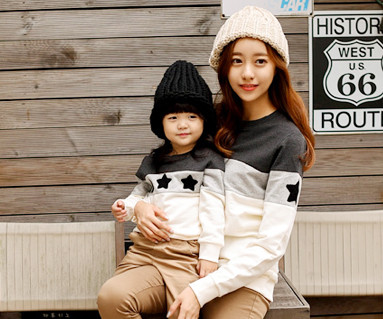 Brushed Coco Star Black Man to man Mom and baby long sleeve_15D02
