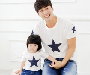 All Star round dad and baby short T-shirts_14B39
