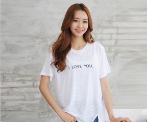"""Love U embroidery round short Women's T-shirts_14B24<font color=""""#FF6666""""><strong>[Order available]</strong></font>"""