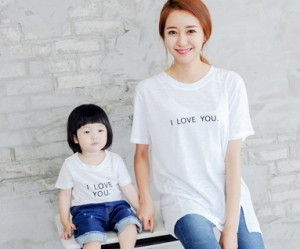 Love Yu embroidery round Mom and baby short T-shirts_14B24