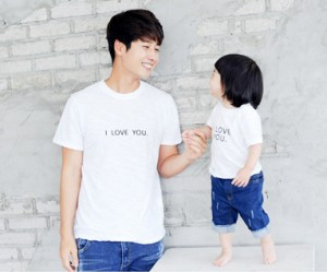Love embroidered round dad and baby short T-shirts_14B24