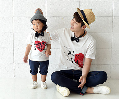 Couple Heart Daddy and baby short T-shirts_16B21