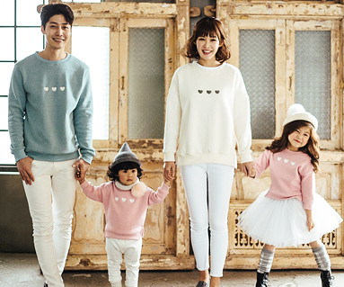 Brushed Little Heart Man to man family long sleeve_16D09