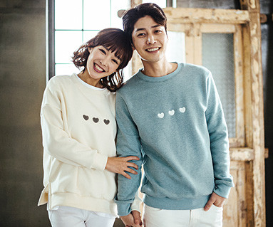 Brushed Little Heart Man-to-man Couples long sleeve_16D09