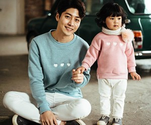 Brushed Little Heart Man-to-man daddy and baby long sleeve_16D09