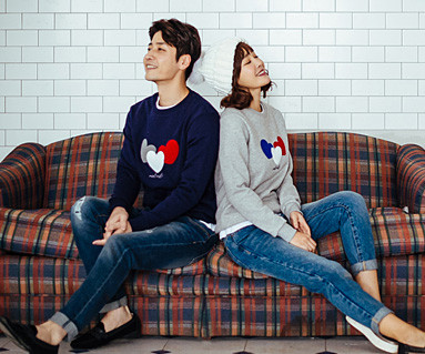 Brushed Three Hearts One-man Couples long sleeve_16D01
