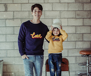 Brushed Love Circle embroider round daddy and baby long sleeve_16D05