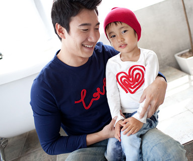 Chain embroidery round daddy and baby long sleeve_11C01