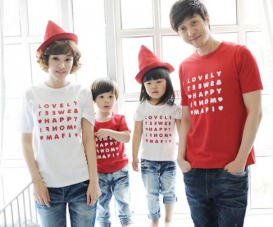Happy Party round family short T-shirts_13B07