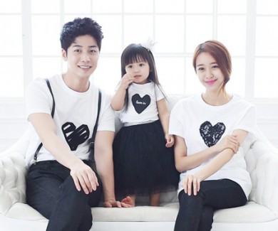 Black Heart round family short T-shirts_15B08