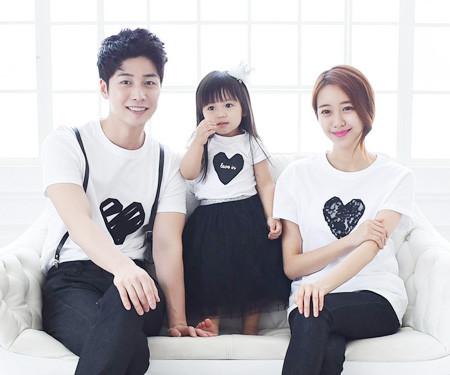 Black Heart round family short T-shirts_15B08