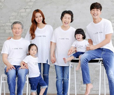 Love family embroidery round family short T-shirts_14B24