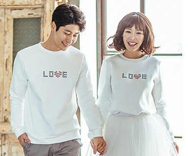 Brushed Love Stitch One-Piece Couples long sleeve_16D08