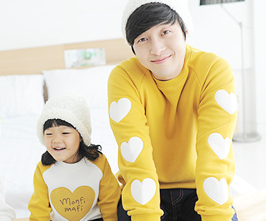 Brushed Olive Man to man daddy and baby long sleeve_13D02