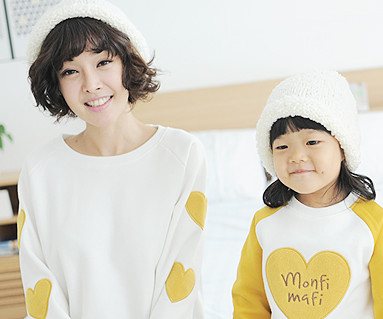 Brushed Olive Man to man Mom and baby long sleeve_13D02