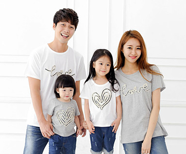 Denim rope round family short T-shirts_14B31