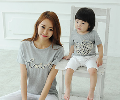 Denim rope round Mom and baby short T-shirts_14B31