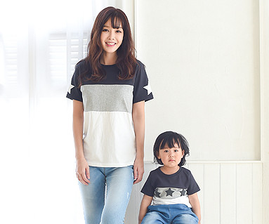 My star round mother and baby short T-shirts_16B12