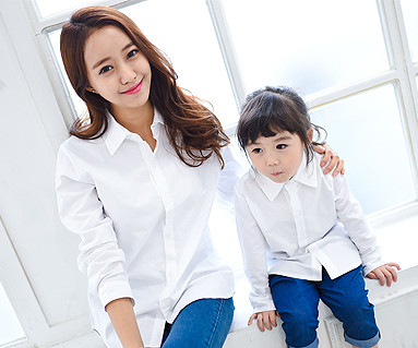 Oxford Shirt White Mom and baby long sleeve_14C15