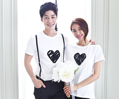 Black Heart round Couples short T-shirts_15B08