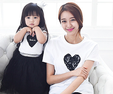 Black heart round mother and baby short T-shirts_15B08WK