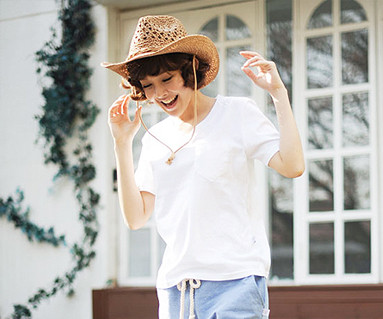 Clean Clean round female short T-shirts_13B28