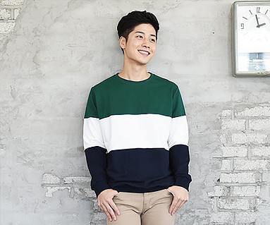 Brushed Trio Color Man to man Male long sleeve_14D01