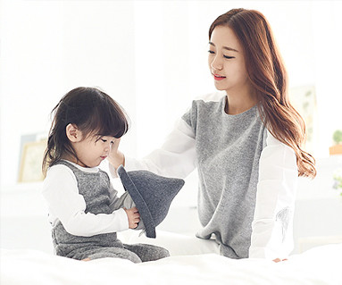 One day family + Oxford Shirt Mom and baby long sleeve_14D02