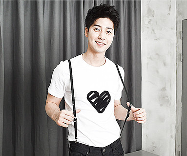 Black Heart round male short T-shirts_15B08