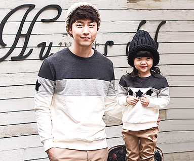 Brushed Coco Star Black Man to man Daddy and baby long sleeve_15D02